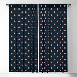 Rose-Gold Polka Dots Pattern On Black Blackout Curtain