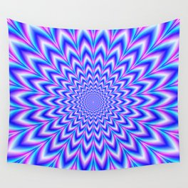 Psychedelic Pulse in Blue and Pink Wall Tapestry