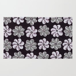 Floral design Black Gray & Light Fuchsia Flowers Print Rug