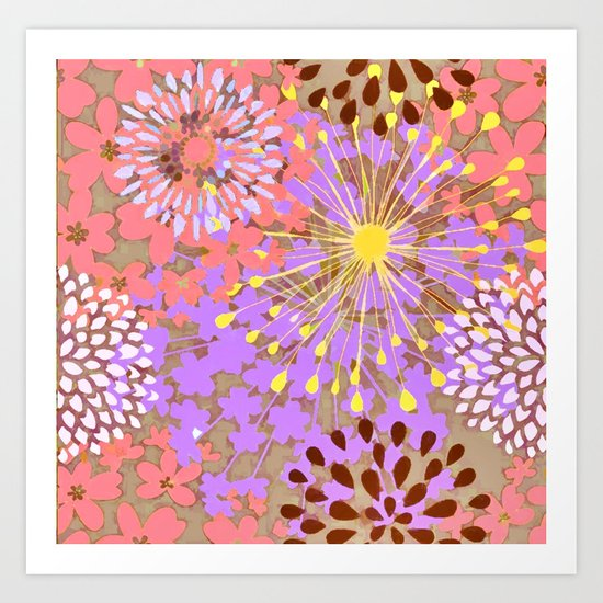 Bright Floral Explosion Abstract Art Print