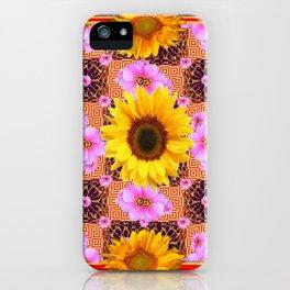 Western Style Burgundy Sunflower Art in Pink iPhone Case