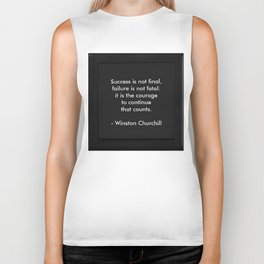 Winston Churchill Quote - Success Is Not Final - Famous Quotes Biker Tank