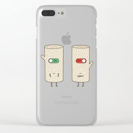log on and log off Clear iPhone Case
