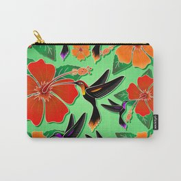 Hummingbird and Hibiscus Batik Pattern Carry-All Pouch