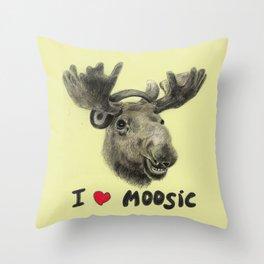 I love Moosic! // moose Throw Pillow