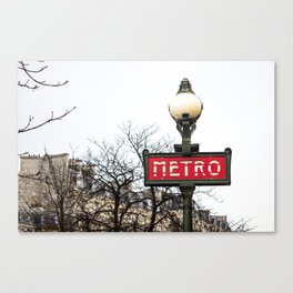 Paris Metropolitan Sign in Red Canvas Print