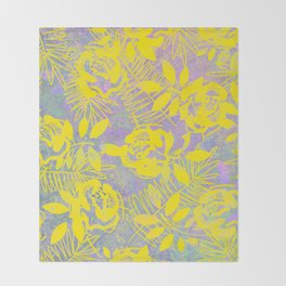 Sunny Yellow Floral Throw Blanket