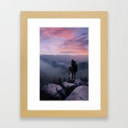 Lone Wolf at Sunset Ridge Framed Art Print
