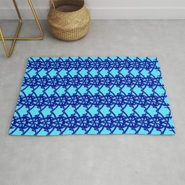 Braided openwork pattern of wire and light blue arrows on a blue background. Rug