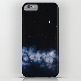 Contrail moon on a night sky iPhone Case