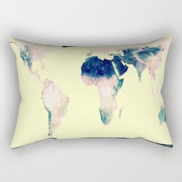 World Map : Gall Peters Pastel Rectangular Pillow