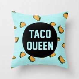 Taco Queen - blue Throw Pillow