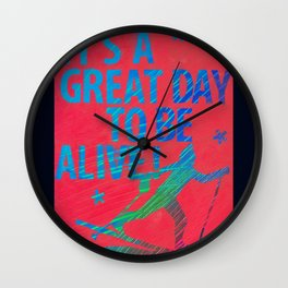 Alive Male Skier Wall Clock