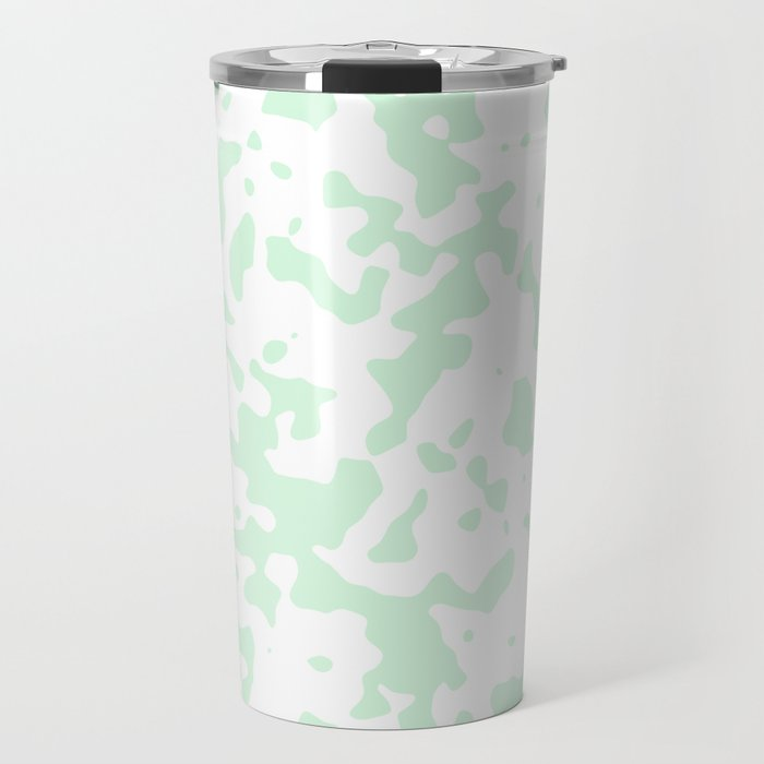 Spots - White and Pastel Green Travel Mug