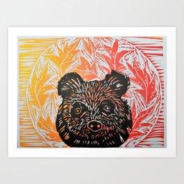 brown bear in autumn leaves lino print Art Print