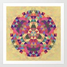 Tribal triangle mandala Art Print