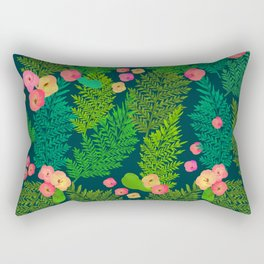 Fern and Flowers Rectangular Pillow