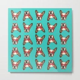 French Bulldog Superhero Textile Metal Print