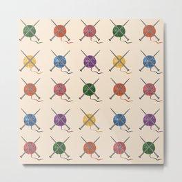 Crafty Yarn Knit Pattern Metal Print