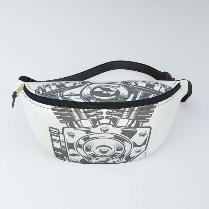 Vintage motorcycle engine in design fashion modern monochrome style illustration Fanny Pack