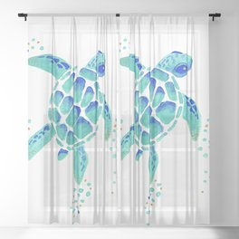Neptune's Turtle Sheer Curtain