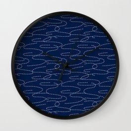 Japanese Sashiko Embroidery Stitches Pattern Wall Clock
