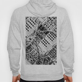 analog synthesizer  - diagonal black and white illustration Hoody