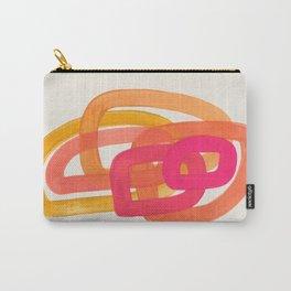 Funky Retro 70' Style Pattern Orange Pink Greindent Striped Circles Mid Century Colorful Pop Art Tasche