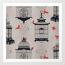 Kiss Empty Brid Cages Art Print