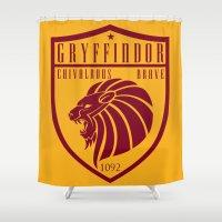 gryffindor Shower Curtains featuring Gryffindor Crest by machmigo
