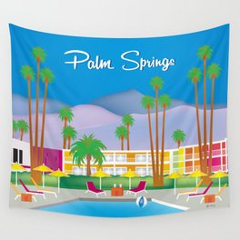 Palm Springs, California - Skyline Illustration by Loose Petals Wall Tapestry