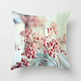 Rose Hips in a Window Still Life Autumn Botanical Throw Pillow