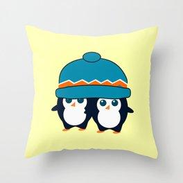When two cute penguins find a beanie Throw Pillow