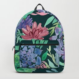 Watercolor Succulent Collage Backpack