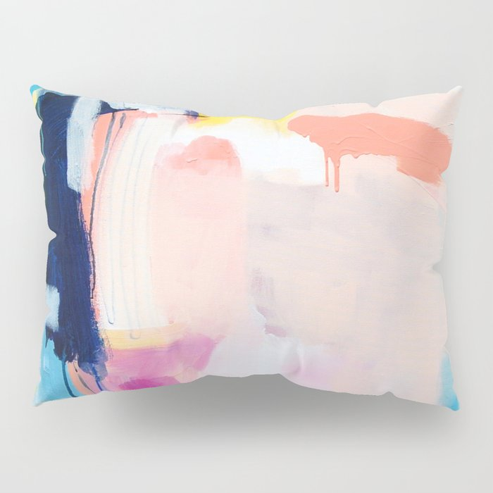"""passions 2"" abstract art in navy, blush, teal, white, and yellow Pillow Sham"