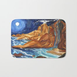 Moon Bathing Babes - Watercolor painting of Earth and Ocean Goddesses Bath Mat