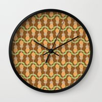 70s Wall Clocks featuring 70s Flowers by Apple Kaur