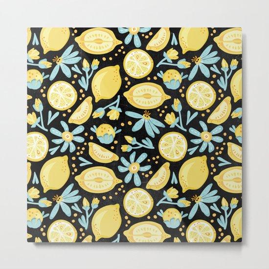 Lemon Pattern Black Metal Print