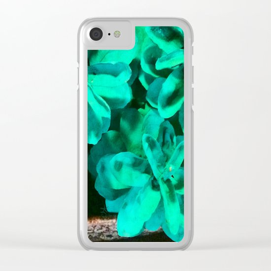 Green Pinecone Roses Clear iPhone Case
