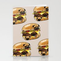 pugs Stationery Cards featuring Pugs Burger by Huebucket