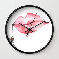 black widow Wall Clocks featuring black widow by trabie