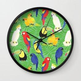 Tropical Parrots Wall Clock