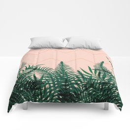 Tropical Ferns on Pink #society6 #decor #buyart Comforters