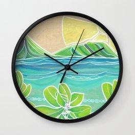 Naupakas in Paradise Surf Art by Lauren Tannehill Wall Clock