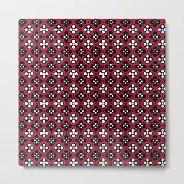 Ornate Crimson Flower Pattern Metal Print