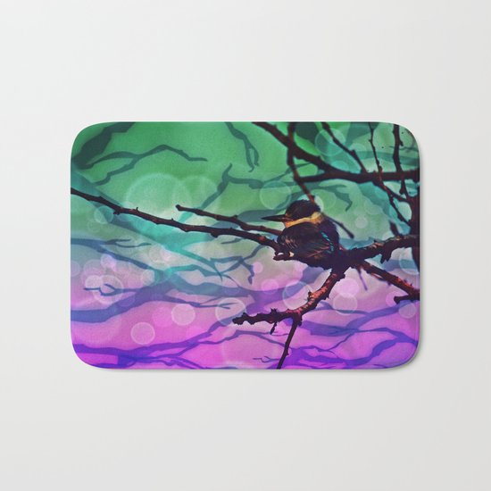 African Bird and Branches Teal And Pink Bath Mat