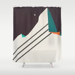 Night Face Mountain Stripes Shower Curtain