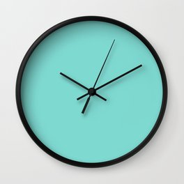 Aqua Teal Blue Solid Color Wall Clock