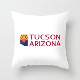 Arizona: Tucson (State Shape & Flag) Throw Pillow
