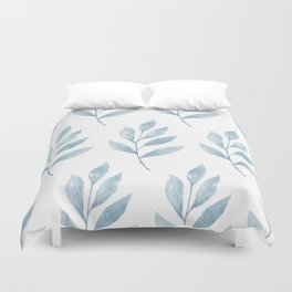 Blue Watercolor Leaves Duvet Cover